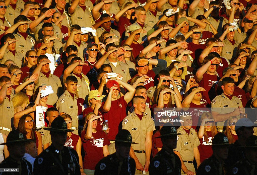 The 12th Man, fans of Texas A&M University Aggies, watch the game against the University of Oklahoma Sooners on November 6, 2004 at Kyle Field in College Station, Texas. The Sooners defeated the Aggies 42-35.