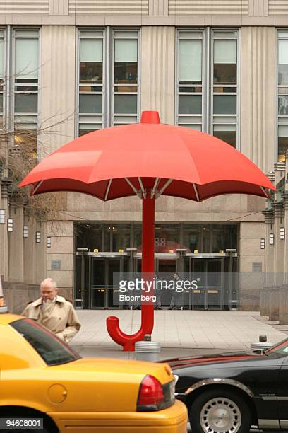 The 137yearold symbol of the Travelers Insurance red umbrella sits outside of the Travelers Insurance headquarters building that houses the Citigroup...
