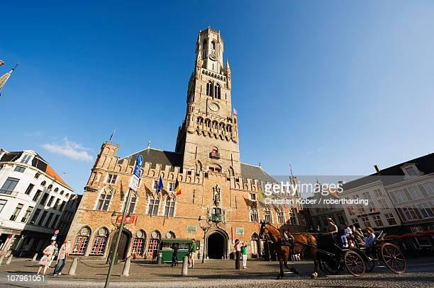 The 13th century Belfort (belfry tower) in market square, Old Town, UNESCO World Heritage Site, Bruges, Flanders, Belgium, Europe