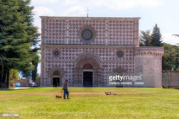 L' AQUILA ITALY JUNE 30 The 13th century church of Santa Maria di Collemaggio on June 30 2018 in L' Aquila Italy