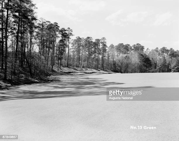The 13th green during the 1948 Masters Tournament at Augusta National Golf Club in April 1948 in Augusta Georgia