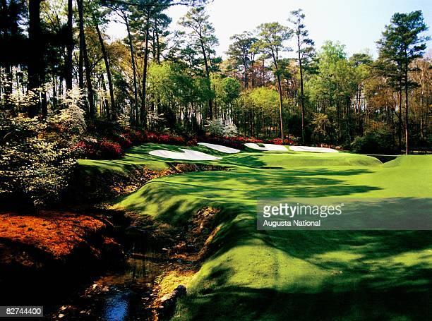 Undated: The 13th green from Rae's Creek with Azaleas blooming at Augusta National Golf Club in Augusta, Georgia.