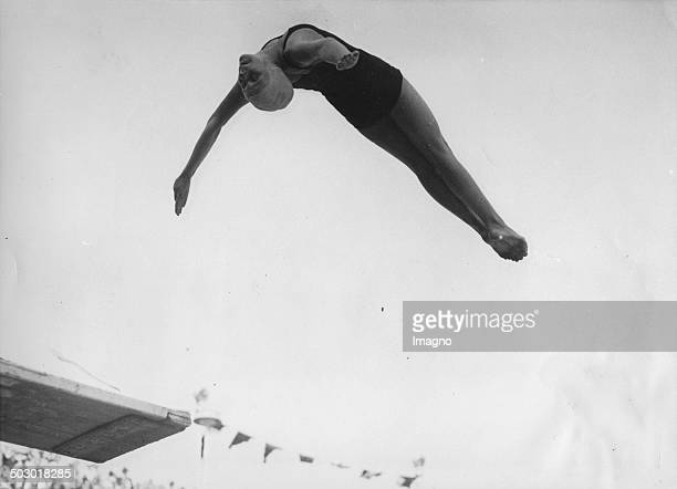 The 13year springboard diver Marjorie Gestring at the Olympic Games in Berlin 12th August 1936 Photograph