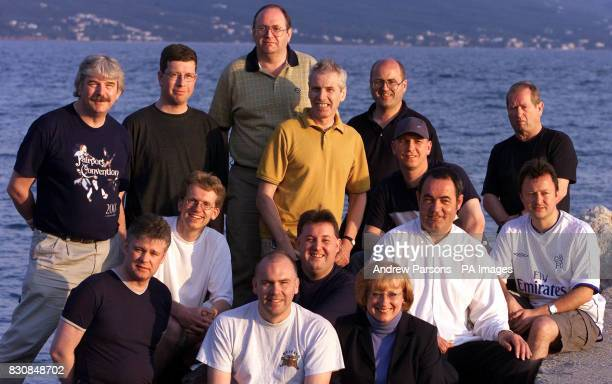 The 14 Plane spotters on the beach in Kalamata Greece their trial begins Wednesday 24th April 2002 charged with illegally gathering secret...