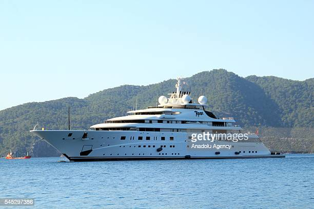 The 147 meter mega luxury yacht of Manchester City soccer club owner Sheikh Mansour bin Zayed al Nahyan from UAE 'Topaz' anchors at Marmaris Mugla...