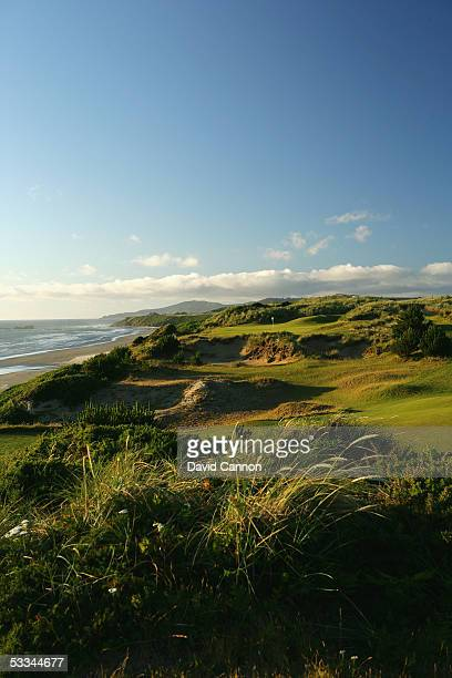The 148 yard par 3 11th hole on the Pacific Dunes Course designed by Tom Doak at the Bandon Dunes Golf Resort on June 16 2005 in Bandon Oregon United...