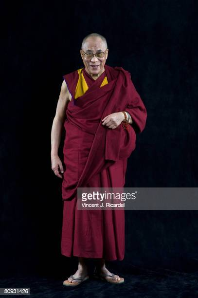 The 14th Dalai Lama poses at a portrait session in Detroit Michigan during his trip to the United States on April 21 2008
