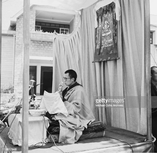 The 14th Dalai Lama the traditional religious and temporal head of Tibet's Buddhist clergy in his residence of Birla House in Mussoorie India in May...