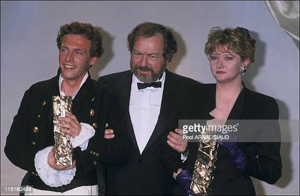 The 14th evening of the 'Cesars' in Paris France in February 1989 Stephane Freiss Cesar for the Most Promising Newcomer in 'Chouans' by Philippe de...
