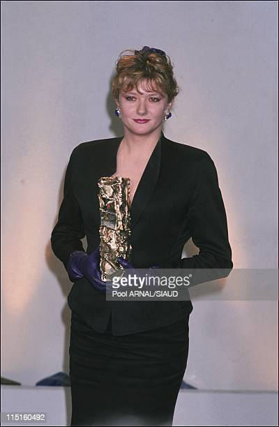 The 14th evening of the 'Cesars' in Paris France in February 1989 Catherine Jacob Cesar for the most promising actress in 'Life Is a Long Quiet...