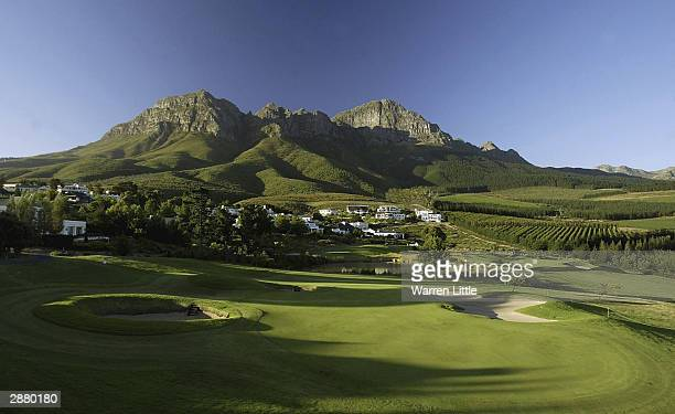 The 14th green shadow of the Helderberg mountain during the second round of the South African Airways Open at the Erinvale Golf Club on January 16,...