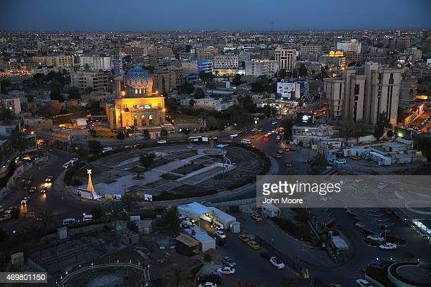 The 14th of Ramadan Mosque stands over Firdos Square where a statue of Saddam Hussein was toppled during the U.S. Invasion on April 13, 2015 in...