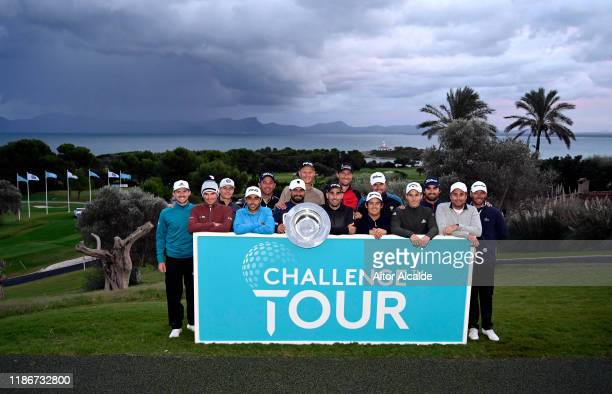The 15 graduates pose for a photo during day 4 of the Challenge Tour Grand Final at Club de Golf Alcanada on November 10 2019 in Mallorca Spain