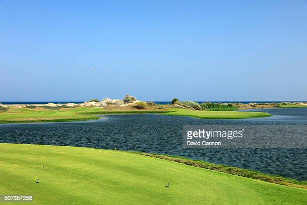 The 150 yards par 3, 14th hole on the Greg Norman designed championship course at the Almouj Golf on January 27, 2016 in Muscat, Oman.