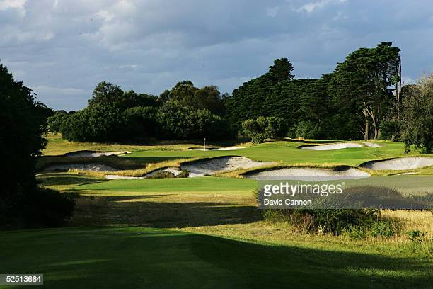 The 153 metre par 3 16th hole on the East Course at Royal Melbourne Golf Club on January 03 in Black Rock Melbourne Victoria Australia