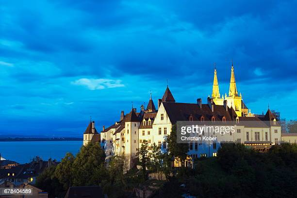 the 15th century chateau and cathedral, neuchatel, switzerland, europe - ヌーシャテル ストックフォトと画像