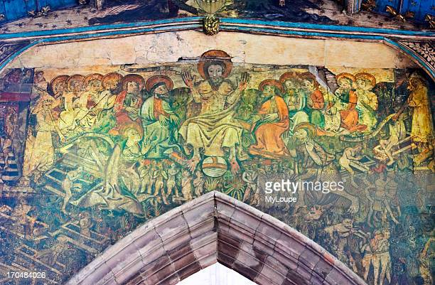 The 15th Century Doom painting in Holy Trinity Church Coventry UK