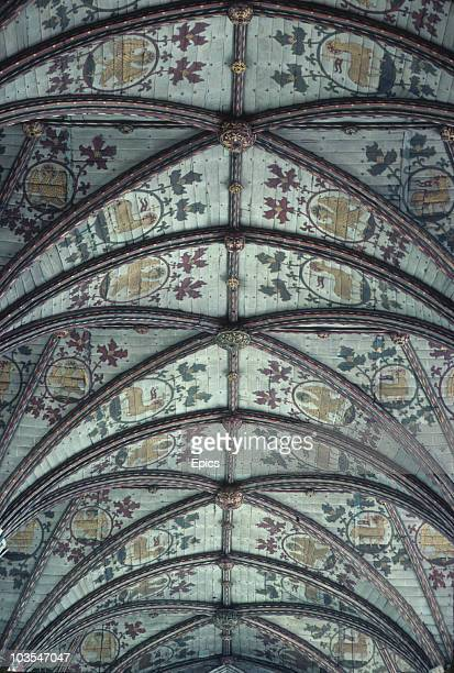 The 15th century Presbytery ceiling of St Albans Cathedral Hertfordshire May 1987