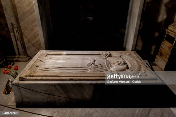 The 15th century tomb of Beato Angelico after it was damaged by unknown vandals in the basilica of Santa Maria sopra Minerva on April 8 in Rome,...