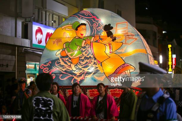the 15th sakurashinmachi nebuta matsuri (2018) - the cowherd and the weaver girl - tanabata festival stock pictures, royalty-free photos & images