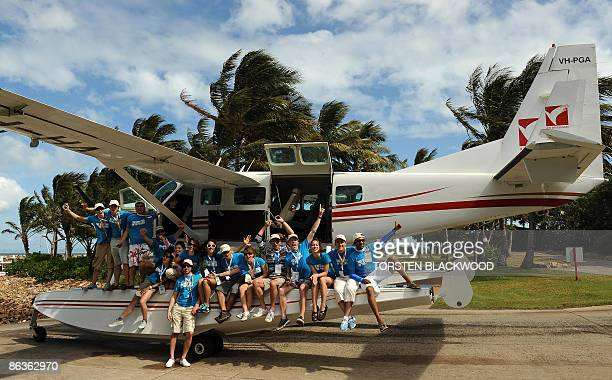 The 16 finalists for the 'Best Job In The World' position as caretaker of Australia's Great Barrier Reef arrive by seaplane on Hayman Island in the...