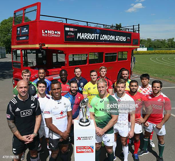 The 16 international captains during the Marriott London Sevens Launch on May 13, 2015 in Barnes, England. The tournament will take place at...