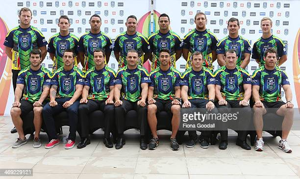 The 16 NRL Nines team captains pose for a photograph during the Auckland Nines captain's and coach breakfast at the Pullman Hotel on February 14,...