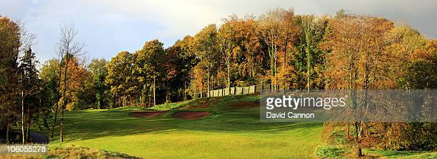 The 165 yards par 3 15th hole 'Walled Garden' on the Faldo Championship Course at Lough Erne Resort on October 23 2010 in Enniskillen Northern Ireland