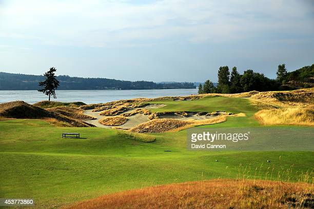 The 167 yards par 3 3rd hole at Chambers Bay Golf Course venue for the 2015 US Open Championship on August 12 2014 in University Place Washington