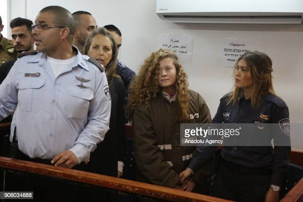 The 16yearold Palestinian Ahed alTamimi who was awarded the 'Hanzala Award for Courage' in Turkey appears in court at Ofer Military Court in Ramallah...
