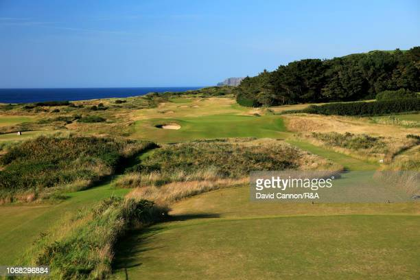 The 174 yards par 3 third hole 'Islay' on the Dunluce Links at Royal Portrush Golf Club the venue for The Open Championship 2019 on July 2 2018 in...