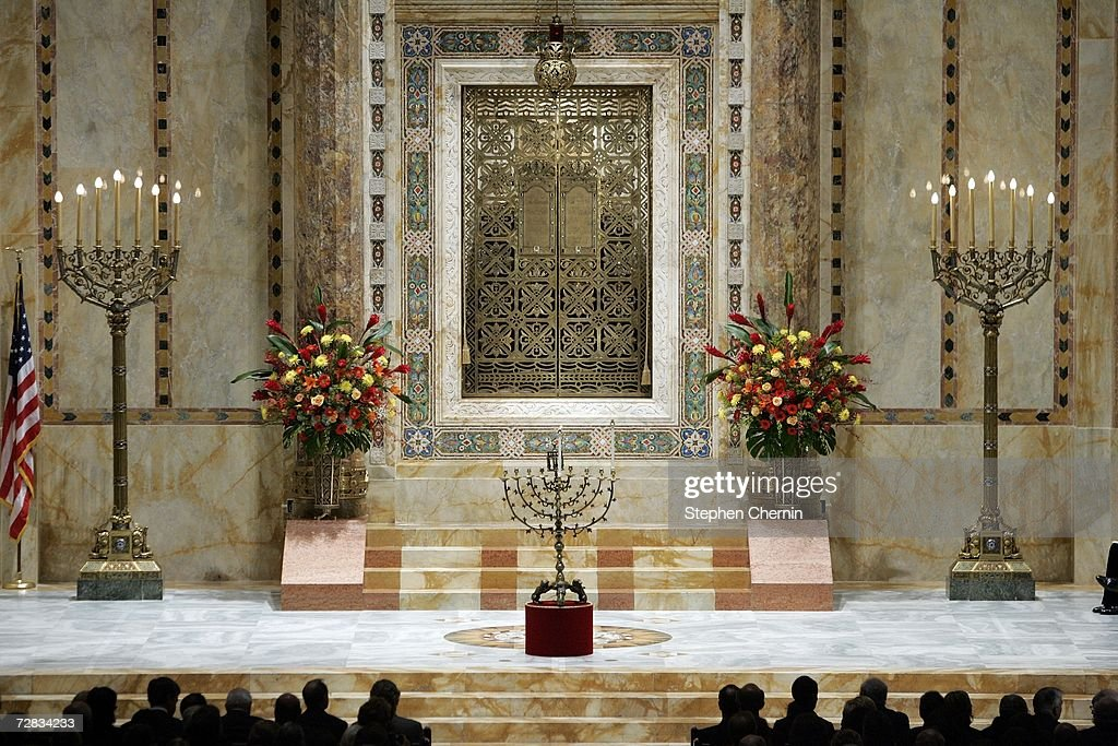 The 17th century brass menorah rests on the altar before its lighting during the first night & Worshippers Usher In First Night Of Hannukah Photos and Images ... azcodes.com