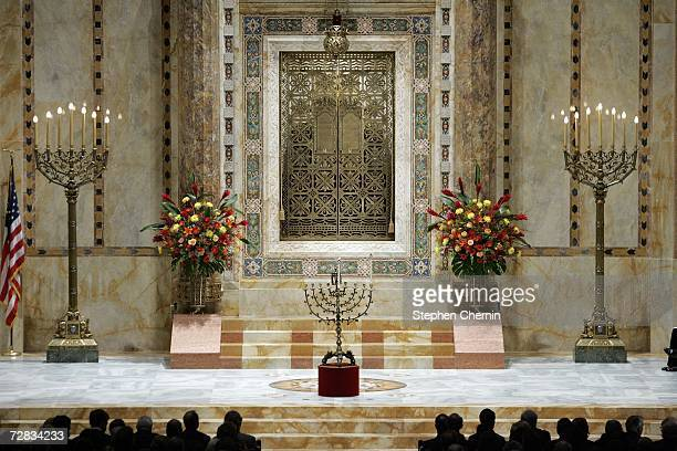 The 17th century brass menorah rests on the altar before its lighting during the first night of Hanukkah at Congregation EmanuEl December 15 2006 in...