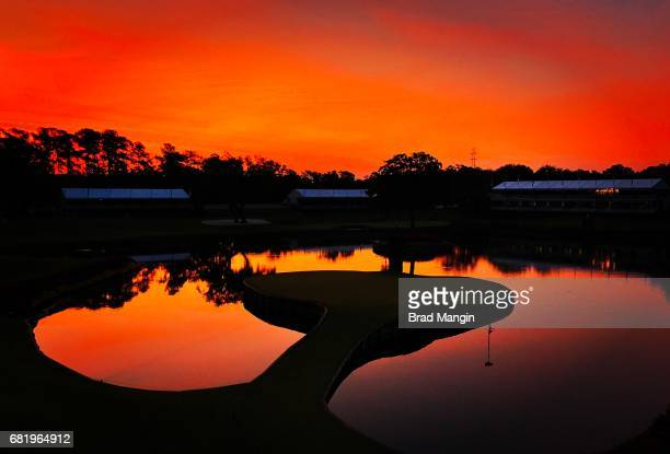 The 17th green before sunrise during the first round of THE PLAYERS Championship on THE PLAYERS Stadium Course at TPC Sawgrass on May 11 2017 in...
