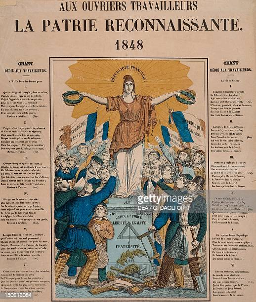 The 1848 Revolution Aux Ouvriers Travailleurs la Patrie Reconnaissante song dedicated to the workers France 19th century