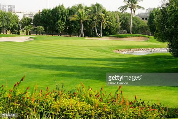 The 188 yard par 3 4th hole on the Majilis Course at the Emirates Golf Club, on December 06 in Dubai, United Arab Emirates.