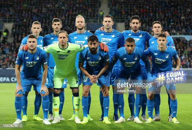 The 1899 Hoffenheim players pose for a team photo prior to the Group F match of the UEFA Champions League between TSG 1899 Hoffenheim and Olympique...