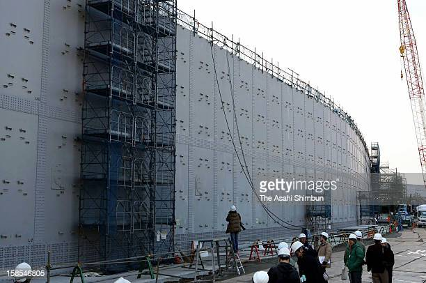 The 18meterhigh breakwater is under construction in preparation for possible huge earthquake and tsunami at Chubu Electric Power Co Hamaoka Nuclear...