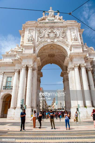 The 18th century Arco da Rua Augusta, a stone arch serving as the gateway to Lisbon. The arch was built by Verissimo da Costa in 1755 to commemorate...