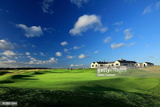 The 18th green and clubhouse on the Old Course during the Oxford and Cambridge Golfing Society President's Putter at Rye Golf Club on January 7 2016...