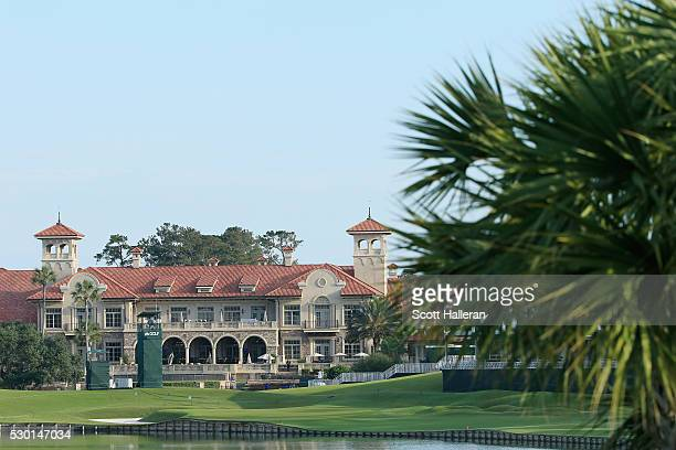 The 18th green are clubhouse are seen during a practice round prior to the start of THE PLAYERS Championship on the Stadium Course at TPC Sawgrass on...