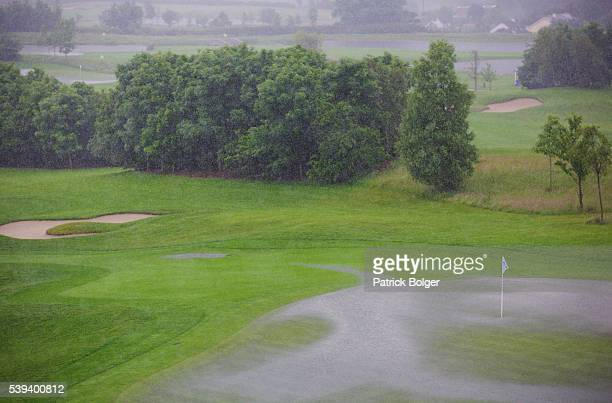 The 18th green at Dun Laoghaire Golf Club where play has been suspended due to heavy rain on Day 2 of the Curtis Cup on June 11 2016 in Enniskerry...