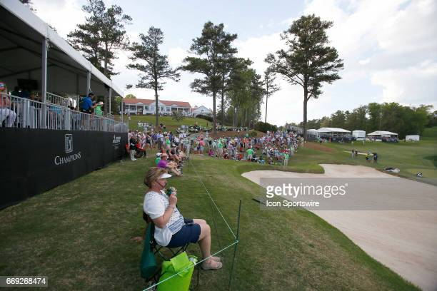The 18th green fan gallery during the final round of the Mitsubishi Electric Classic tournament at the TPC Sugarloaf Golf Club Sunday April 16 in...