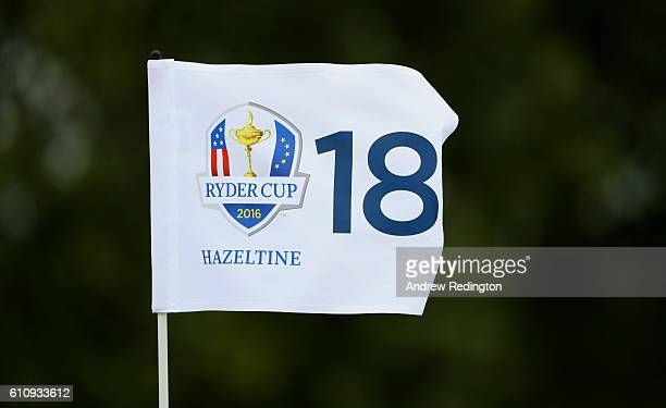 The 18th green flag blows in the wind prior to the 2016 Ryder Cup at Hazeltine National Golf Club on September 28 2016 in Chaska Minnesota