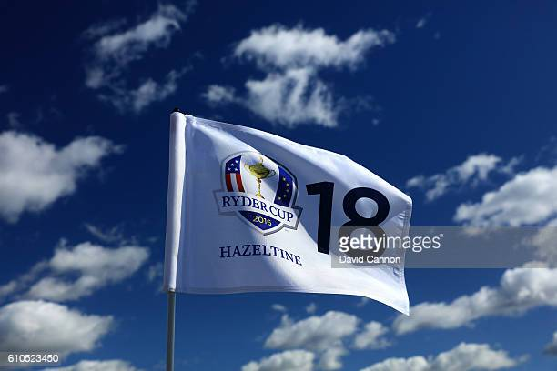 The 18th green flag flies in the wind prior to the 2016 Ryder Cup at Hazeltine National Golf Club on September 26 2016 in Chaska Minnesota