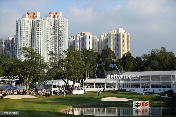 The 18th green in pictured during the final round of the UBS Hong Kong Open at The Hong Kong Golf Club on December 11, 2016 in Hong Kong, Hong Kong.