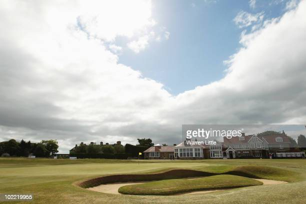 The 18th green is pictured during the final against for The Amateur Championship at Muirfield Golf Club on June 19 2010 in Gullane Scotland
