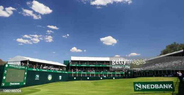 The 18th green is pictured during the final round of the Nedbank Golf Challenge at Gary Player CC on November 11 2018 in Sun City South Africa