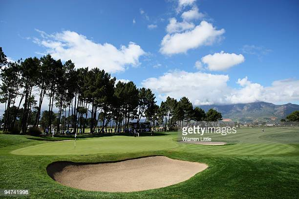 The 18th green is pictured during the second round of the South African Open Championship at Pearl Valley Golf Club on December 18, 2009 in Paarl,...