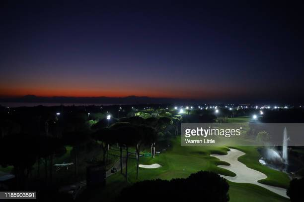 The 18th hole is pictured ahead of the first round of Turkish Airlines Open at The Montgomerie Maxx Royal on November 06, 2019 in Antalya, Turkey.